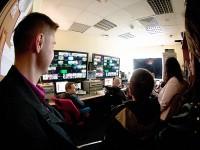 Zajęcia z dziennikarstwa telewizyjnego w studiu POLSATU (studenci dzienni) - fot. Michał Rogala, img_799