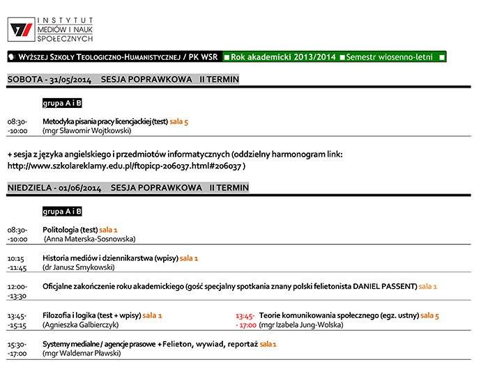 Plan zajęć na sesję 30 maja i 1 czerwca 2014 r. (II termin)